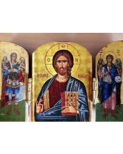 3 delad ikon Kristus och madonna
