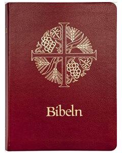 Bibeln, halvmjukt band, mörkrött konstskinn
