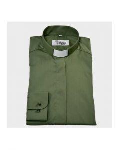 Diakonskjorta Frimärke Strykfri Lång ärm Olivgrön strl L