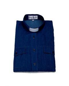 Prästskjorta Frimärke Herr Lång ärm Jeansblå Stl XL