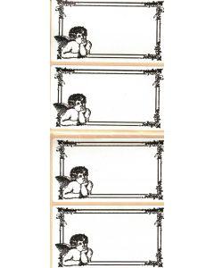 Juletikett, ängel, 80 x 44 mm, 20-p