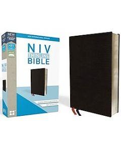 NIV Bibel Skinn svart med tumgrepp