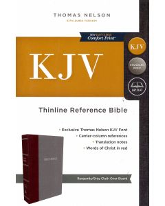 KJV, Thinline Reference Bible, Cloth over Board, Burgundy/Gray, Red Letter, Comfort Print: Holy Bibl
