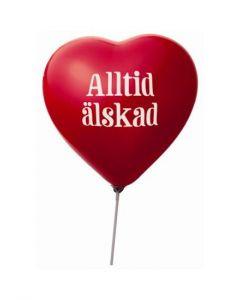 Ballong - Alltid älskad (med pinne) 10-pack