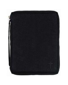 Bibelfodral svart canvas med kors S