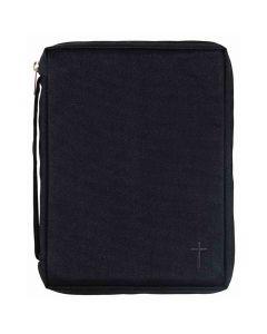 Bibelfodral svart canvas med kors M