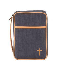 Bibelfodral blå canvas med kors M