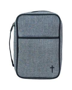 Bibelfodral grå canvas L