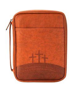Bibelfodral brunt konstläder L
