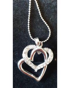 Halsband, två öppna hjärtan, vitmetall
