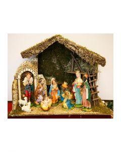 Julkrubba, stall med figurer 30 cm
