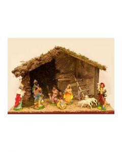 Julkrubba,stall med figurer 20 cm