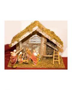 Julkrubba, stall med figurer 12 cm