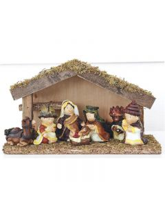 Julkrubba, stall med figurer 5 cm