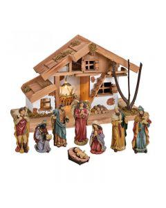 Julkrubba, stall med figurer 16 cm