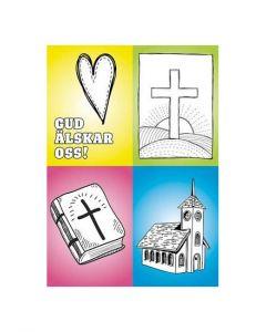 Vykort färglägg - kyrka 20-p