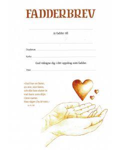 Fadderbrev - hjärta i hand 10st/fp