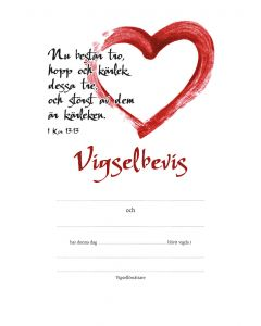 Vigselbevis - hjärta 10st/fp