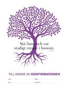 Konfirmandminne  träd lila, 10-pack