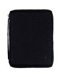 bibelfodral svart canvas, kors L