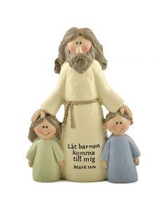 Jesus med två barn. Låt barnen komma till mig